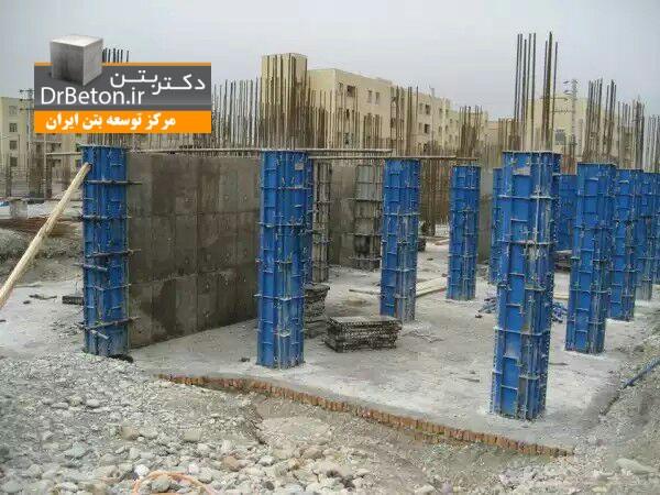 مراحل ساخت ساختمان بتنی(7) اجرای ستون های بتنی